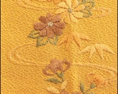 Vintage kimono mustard yellow han'eri, decorative collar with embroidered flowers