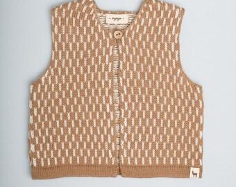 Dash pattern vest / Baby alpaca wool vest / camel / brown / white / jacquard pattern vest / children / girl / boy / toddler / baby top