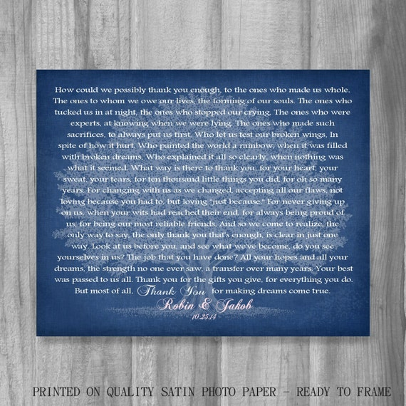 Thank You Gift for Parents In-Laws FROM Bride and Groom Personalized Wedding Gift Mom Dad Poem