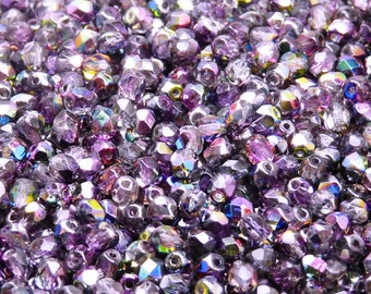 100pcs Czech Fire-Polished Faceted Glass Beads Round 4mm Magic Violet-Grey (4FP017)
