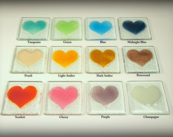 4 Heart Coasters-FREE UK SHIPPING-Choose a combination of colours-12 colours available-fused glass heart coasters