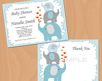 Baby Shower Invitation Boy Baby Shower Invitation Elephant Baby Shower Invitation Baby Boy Shower Invitation (05) - Free Thank You Card