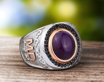 Personalized Silver Ring With Individual 10k GOLD Initials Mens Gemstone Handmade Vintage Ottoman Style :FREE Shipping via Fedex 59369