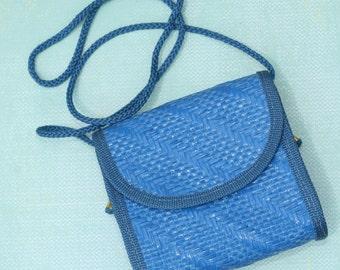 Blue Straw Crossbody Bag