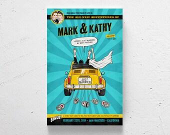 FREE SHIPPING / Custom wedding poster, retro comic, custom couple, retro wedding, personalized wedding poster, wedding poster, just married
