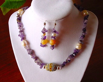 Amethyst and Pearl Necklace with Ornate Inlayed Leather Focal and Earring Set