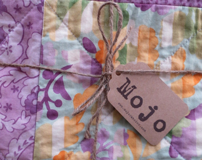 Rag Quilt Throw, Green, Lavendar and Cream - Ready to Ship