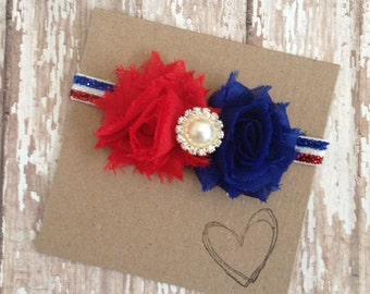 4th of July Headband, Red White and Blue Headband, July 4th, Independence Day, Headband, Baby Headband