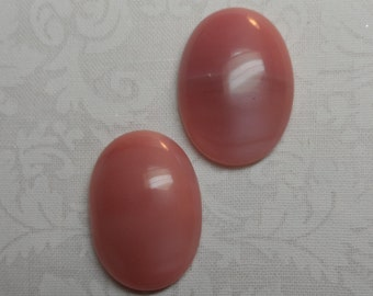 Vintage Czech pink glass moonstone 25 x 18mm cabochons,2pcs,,-CAB38