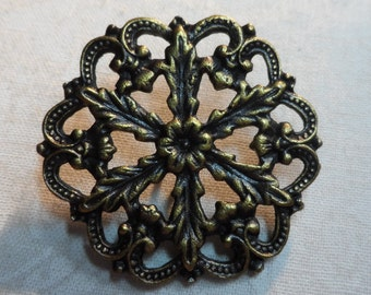 "Vintage gold cast metal button filigree,1&3/8th""diameter,1pc-FLG43"
