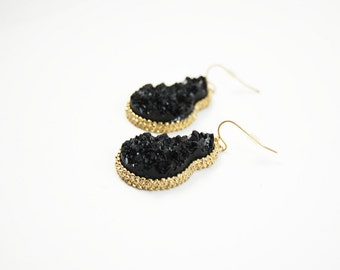 Black Gourd Geode Drusy Druzy Stone Dangle Statement Earrings