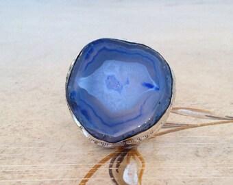 Blue/Gray Agate Slice Ring-Sz 8