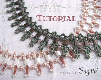 Tutorial for beadwoven tila bead necklace 'Sagitta' - PDF beading pattern - DIY