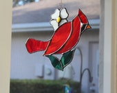 Stained Glass Cardinal - Red Bird - Winter - Suncatcher - Garden Decor
