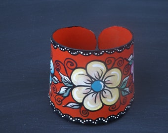 Handpainted Upcycled Record Cuff Bracelet