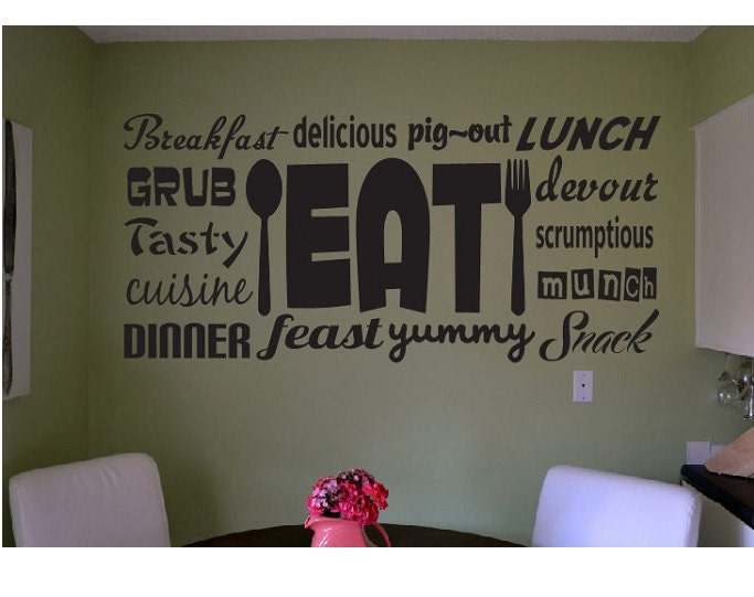 Eat Kitchen Decor Wall Decal : Eat kitchen wall quote sign vinyl decal sticker food dinner