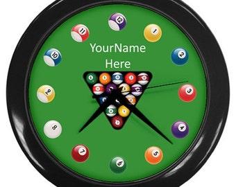 Pool Table Billiard Personalized Wall Clock Billard - Great Birthday Gift