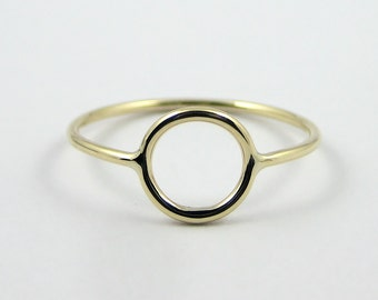 Gold Circle Ring, Karma Ring, Solid Gold Ring, Open Circle Ring, Modern Eternity Ring, 9k Gold Ring, Minimalist Jewellery