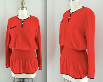 1980s Valentino Sweater/  Red Preppy Sweater/ Italian Pullover/ Womens Size Small