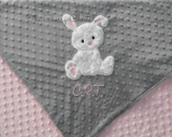 Personalized Baby Blanket, Bunny on Grey Minky Baby Blanket, Custom Blanket, Made to Order