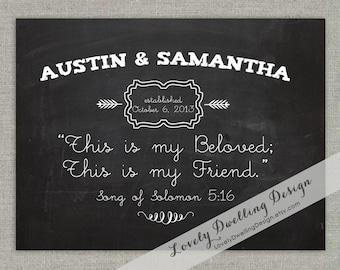 Wedding Art Print // Song of Solomon 5:16 // Chalkboard style // 8x10 // Custom