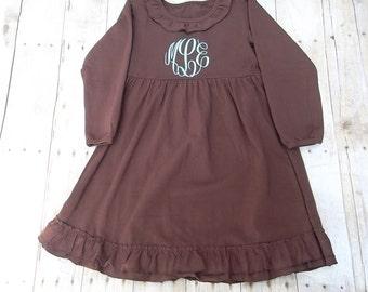 Girl Personalized Dress -Personalized Brown Dress-Red Dress-Purple Dress-Monogrammed Dress-Girl Portrait Dress-Girl Birthday Dress