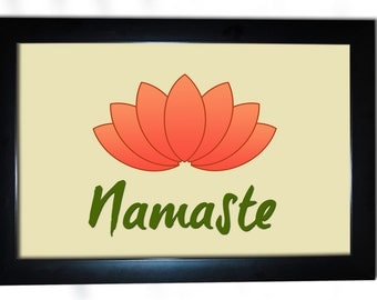 Namaste Yoga Calming Flower Office Frame Picture Home Bed Room Decor Cute Fun Poster Framed Wall Decoration Print Posters 13x19 F125