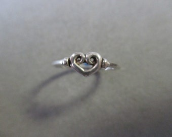 Sterling Silver Swirl Heart Ring #R96SS