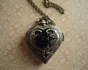 Heart Shaped Locket Watch (with Rose)