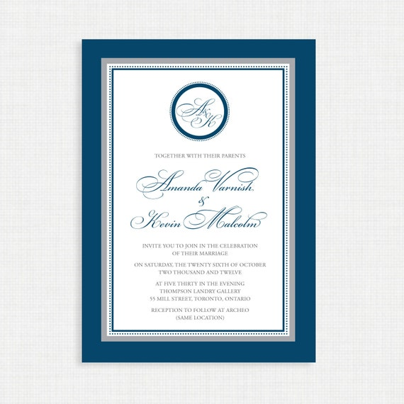 Printable Wedding Invitation - Wedding invitation template- Monogram Wedding Invitations - Printable Wedding invitations