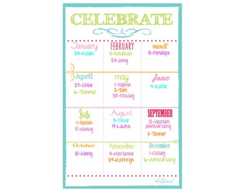 Birthday Organizer, Date Organizer,  Organization for Birthdays