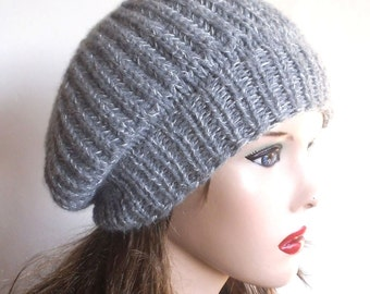 Light Grey  Beret. Slouchy Hat. Hand Knit Hat. Winter Woman Hat. Oversized Beret.