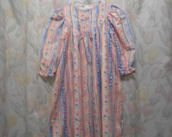 Size 4 girls gown in blue & pink stripe