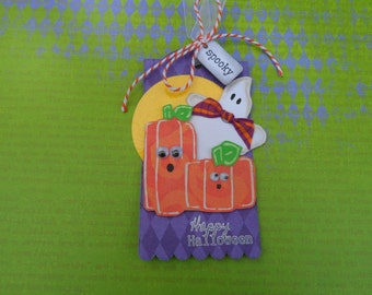 Square Pumpkins Tag, Halloween Tag, Ghost Tag, Gift Tag, Happy Halloween