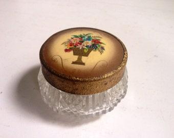 Vintage Floral & Gold Cold Cream Jar, Glass