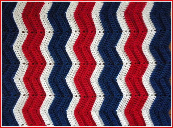 Ny Giants Crochet Afghan Pattern : Handmade Crochet Cherry Red White and Royal by BlanketsByJulee