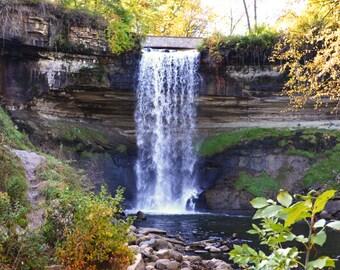 Emerald Moss Under the Falls, Minnehaha Falls, Minneapolis, MN - 8 x 10 Print