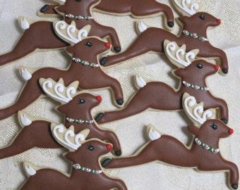 Reindeer Decorated Sugar Cookies, Rudolph Reindeer, Xmas Christmas Gift Cookies, Holiday Party Cookie Favors, Custom Cookies