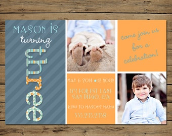 Third Birthday Invitation - Printable 3rd Birthday Party Invite - Boy or Girl - Text Stripes Pattern