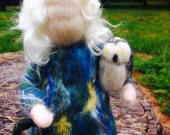 Waldorf inspired needle felted grandmother moon made to order