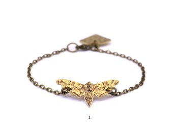 Hawk Moth Brass Illustrated Bracelet - NATURE GIRL range