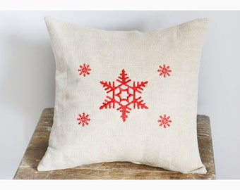 Snowflakes , Embroidered Christmas pillow cover, Christmas pillow case, Christmas gift pillow cover , snoflakes pillow cover