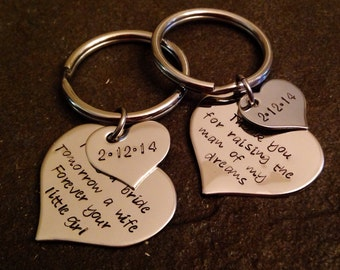 Hand stamped personalized keychain set wedding day mother in law mother of the bride