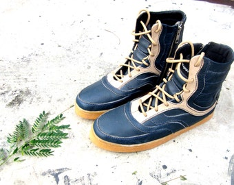 blue cream leather boots handmade men women shoes Marapulai Hi top Sneakers Preorder