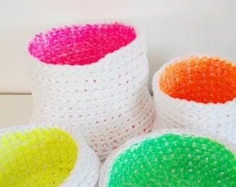 Neon Crochet Basket -Neon Crochet Storage Baskets - Double Sided Handpainted Neon Baskets - Modern Decor