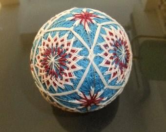 Red-White & Blue Treaditional Japanese Temari Ball Decoration