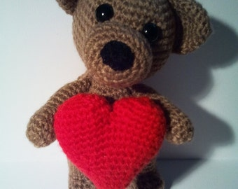 PDF crochet pattern - Amigurumi got me love Teddy