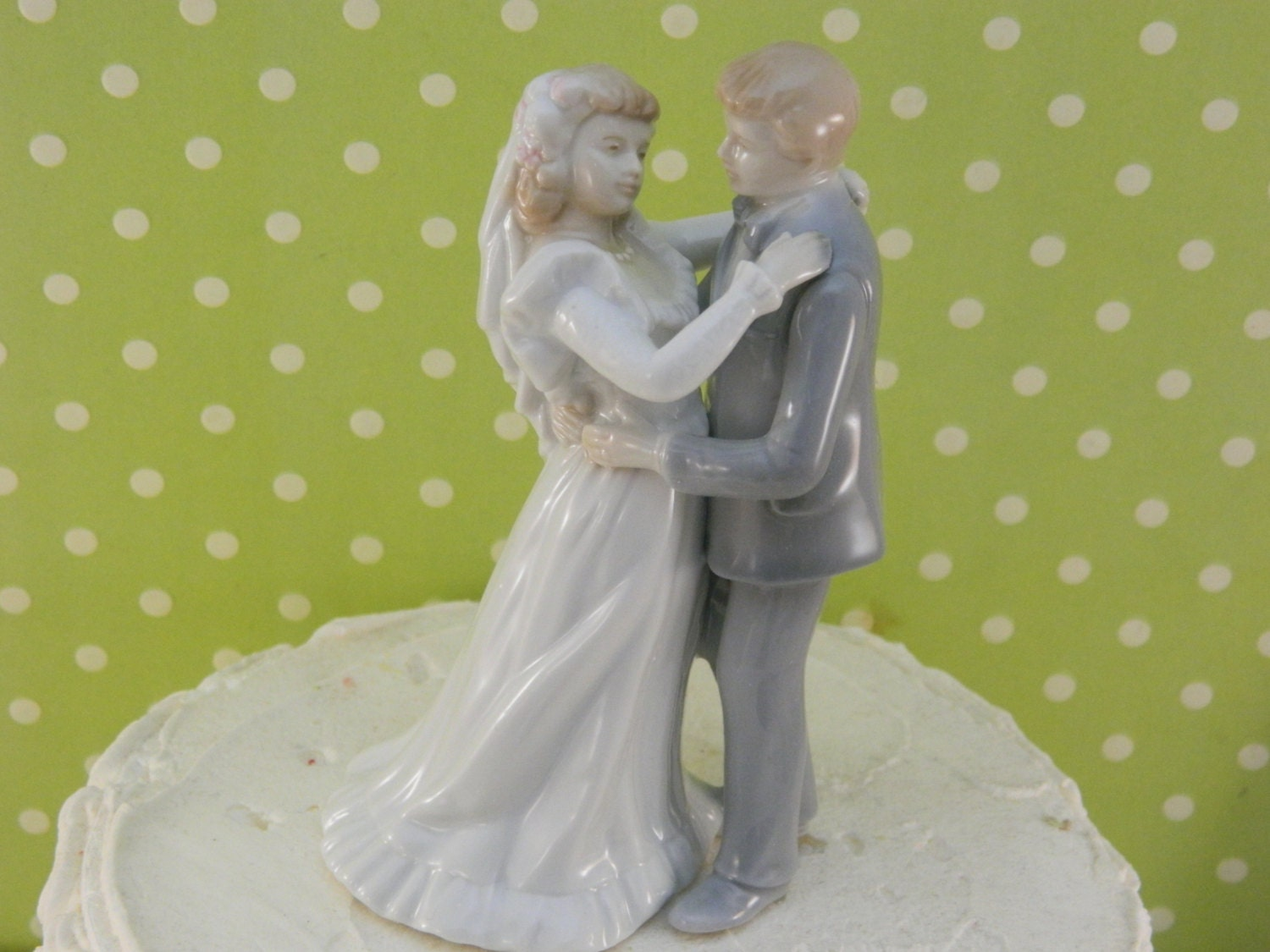 First Kiss Vintage Wedding Topper / Bride And Groom Topper