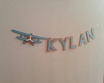 Vintage airplane name banner, vintage airplane birthday theme, airplane room decor, airplane name banner, vintage airplane