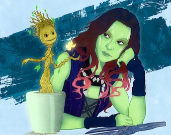 Gamora and Baby Groot from Guardians of the Galaxy Poster